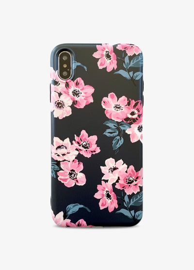 Black Floral Romance Phone Case