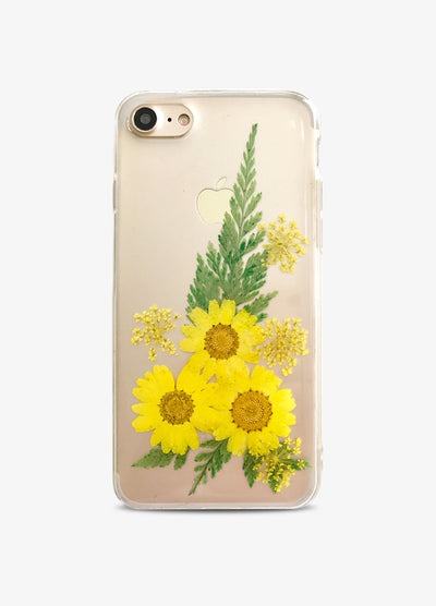 Pressed Yellow Floral Fern Phone Case