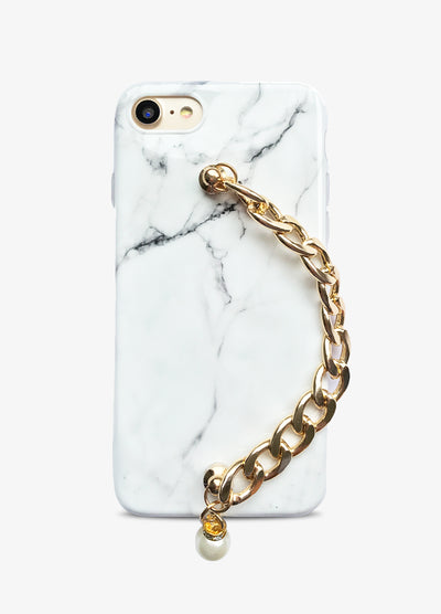 White Marble Gold Chain Phone Case