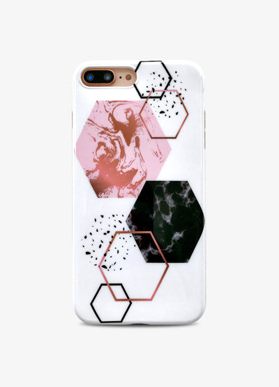 White Hexagon Marble Phone Case