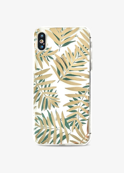 Golden Palms Clear Phone Case