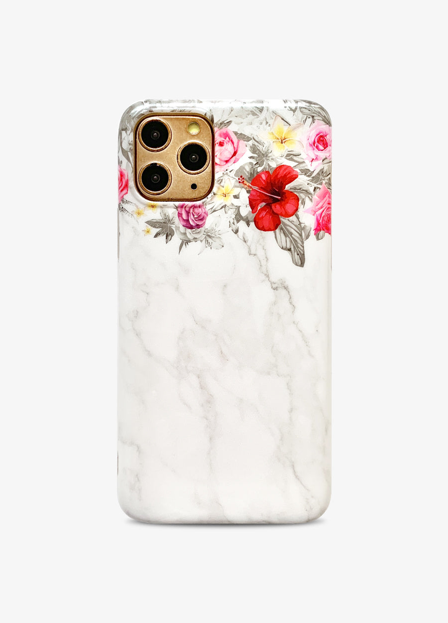 White Floral Marble Phone Case