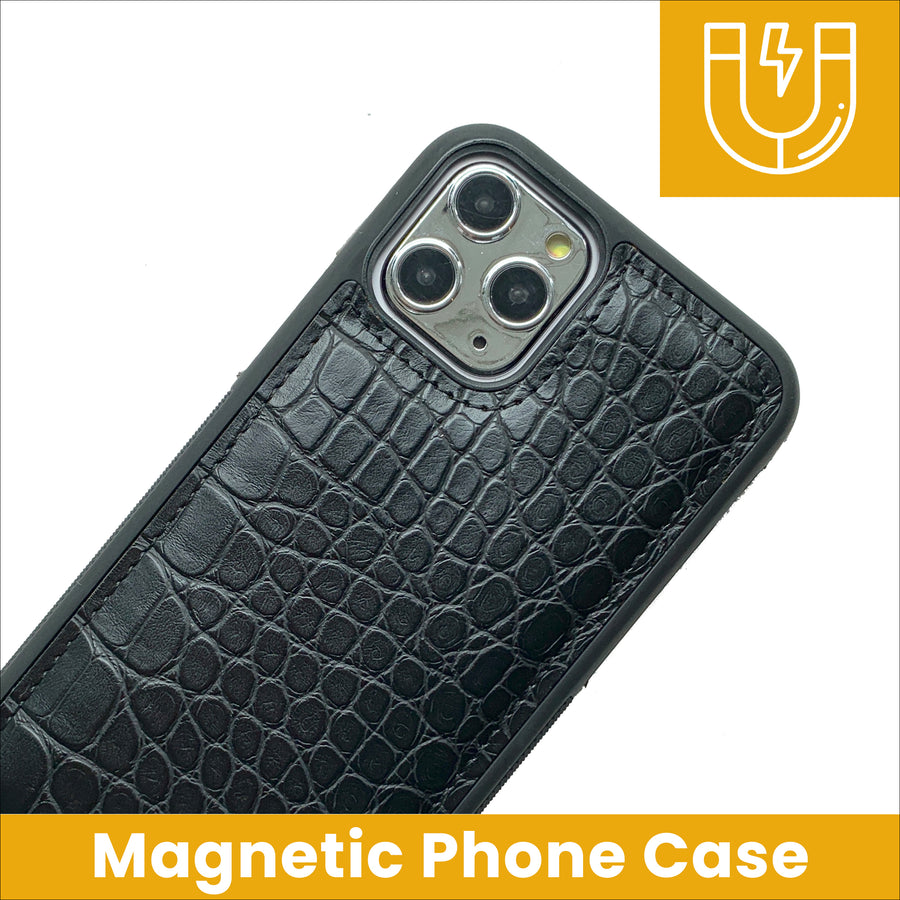 Magnetic Phone Case in Black Crocodile