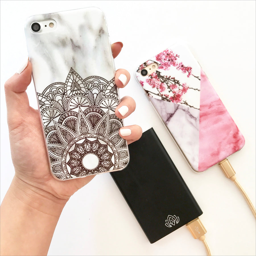 White Marble Mandala Phone Case