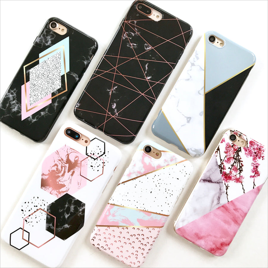 Black Geo Marble Phone Case