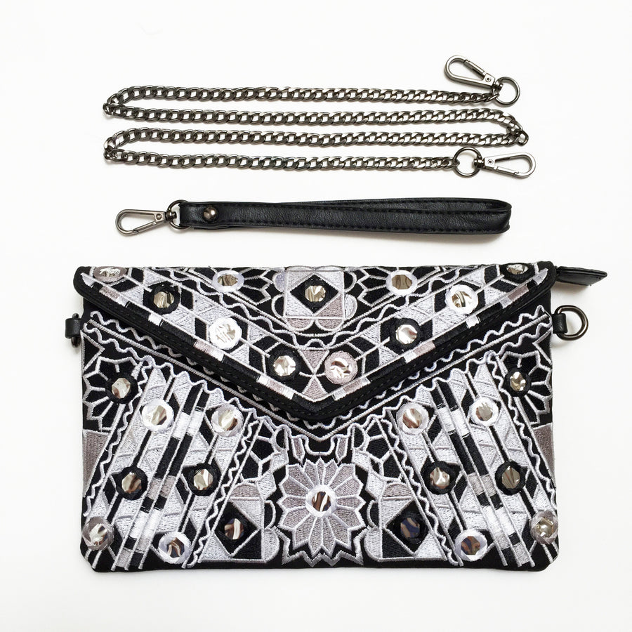 Embroidered Crossbody Clutch Bag in Metallic Black