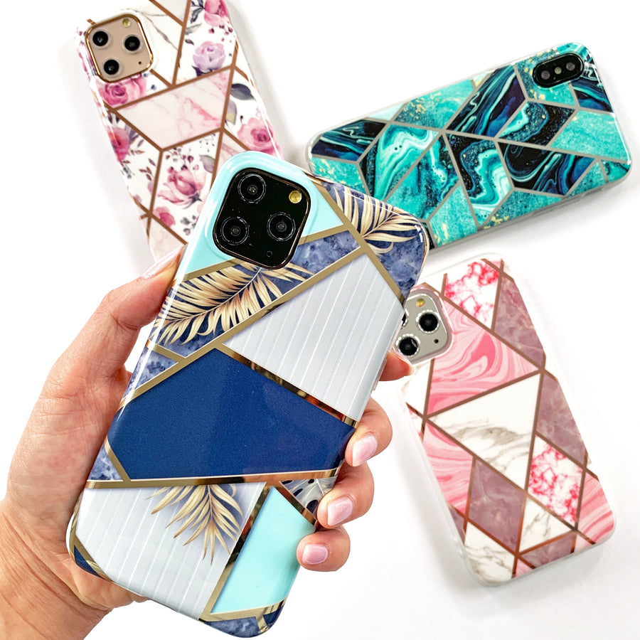 Metallic Blue Geo Phone Case