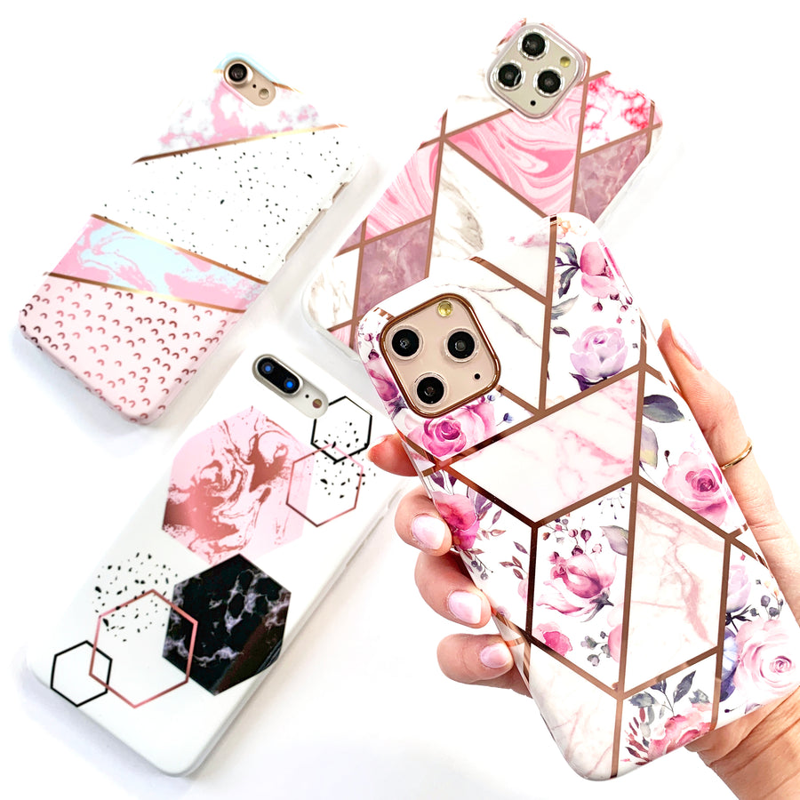 Floral Blooms Metallic Geo Phone Case