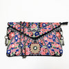 Embroidered Crossbody Clutch Bag in Midnight Blue