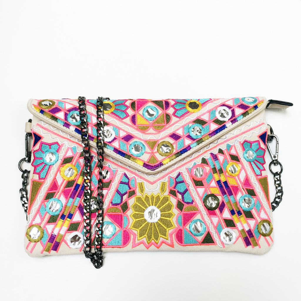 Embroidered Crossbody Clutch Bag in Natural White