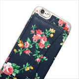 Floral Wallet Phone Case in Navy Blue