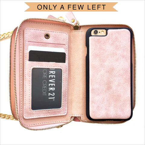 Crossbody Wallet Case in Pastel Pink