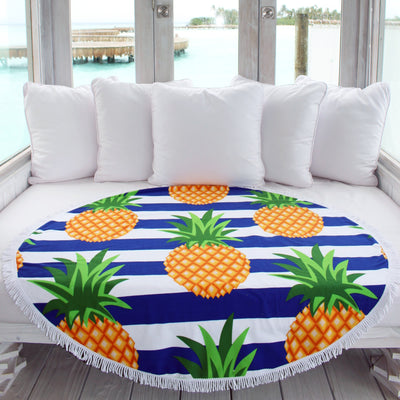 Pineapple Stripes Round Towel