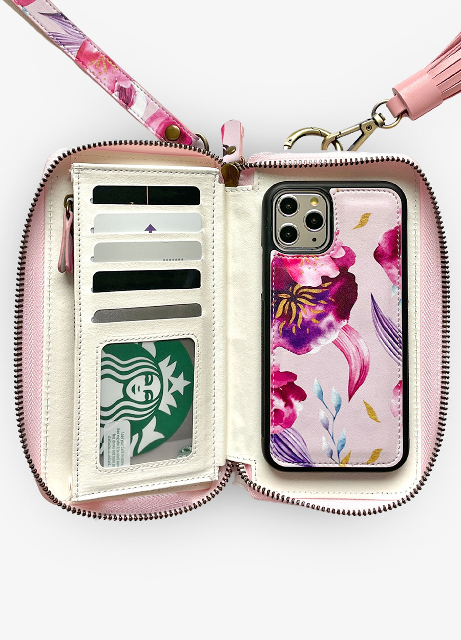 Ultimate Wristlet Phone Case in Magenta Rose