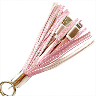 Pink Metallic Tassel Keychain Charging Cable