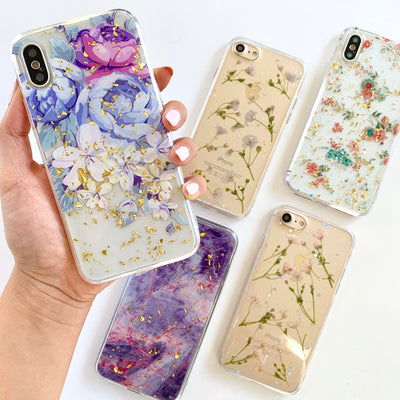 Pretty Peonies Gold Flakes Phone Case