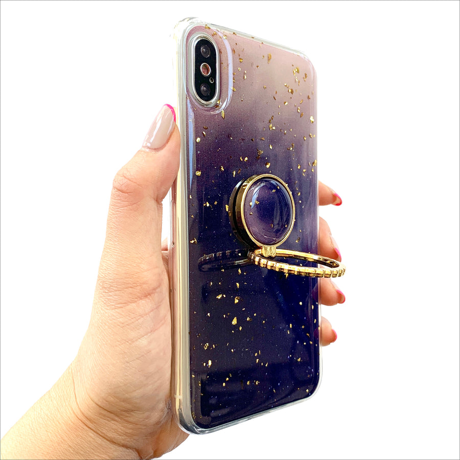 Purple Ombre Golden Grip Ring Phone Case