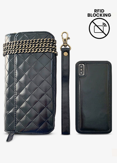 RFID Crossbody Wallet Phone Case in Quilted Black