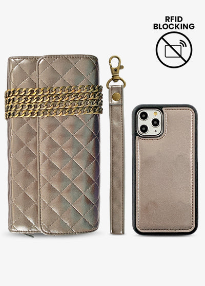 RFID Crossbody Wallet Phone Case in Quilted Gunmetal