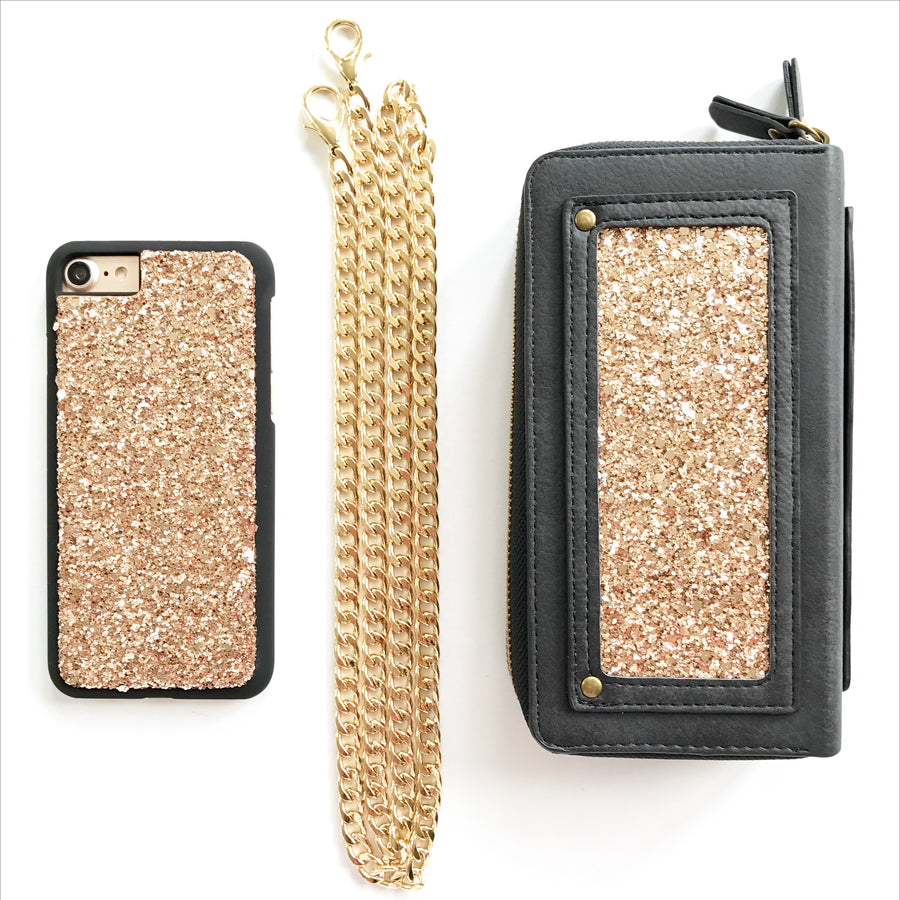 Rose Gold Glitter Crossbody Wallet Case