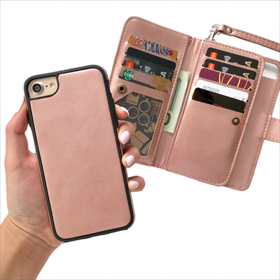 Rose Gold & Mint Stripe Wallet Case