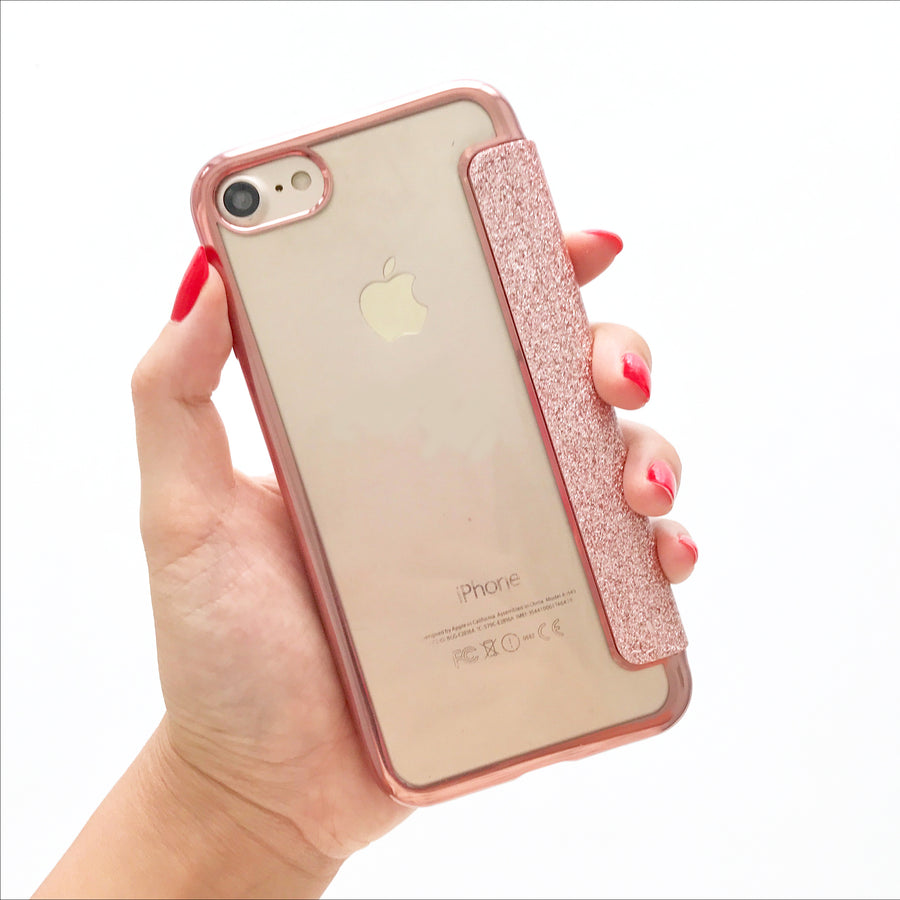 Rose Gold Glitter Card Case