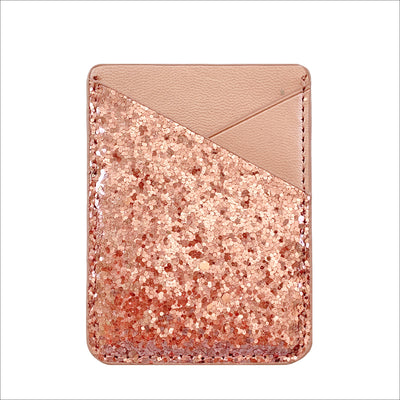 Card Pocket in Rose Gold Glitter