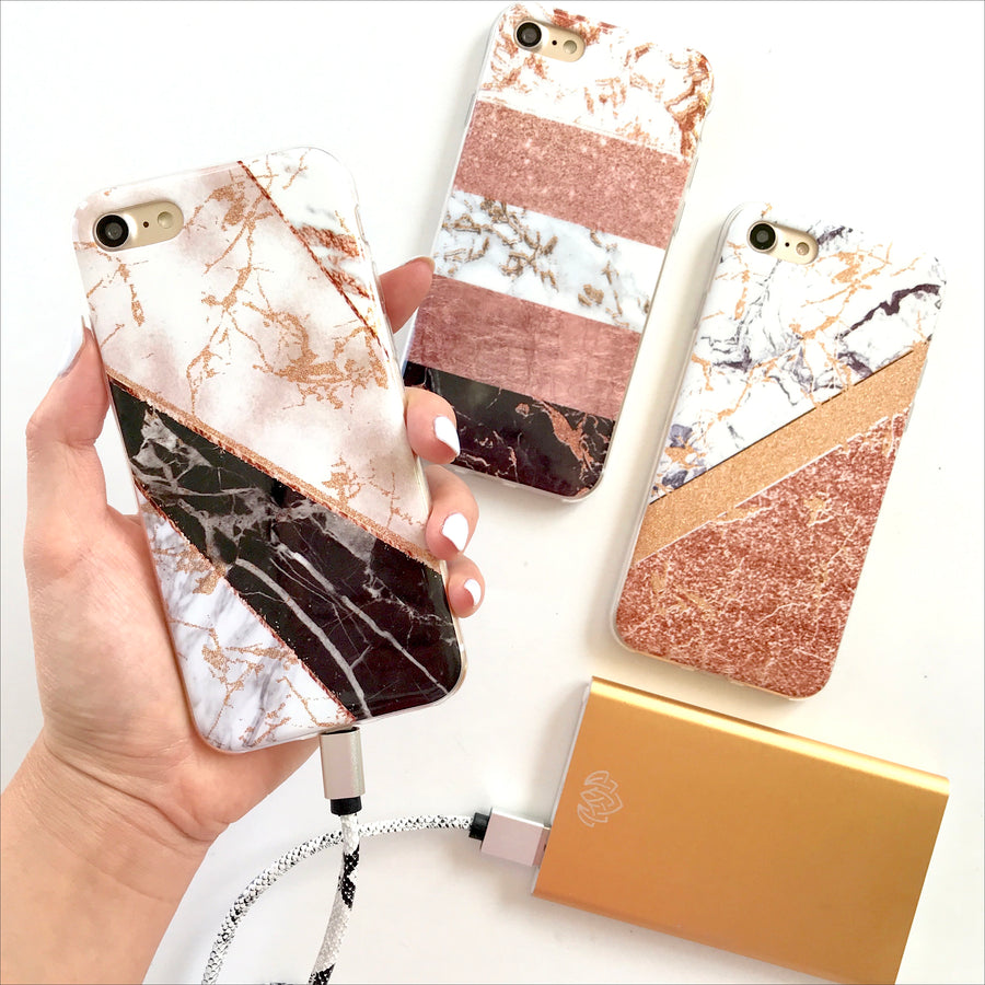 Striped Rose Gold Marble Phone Case