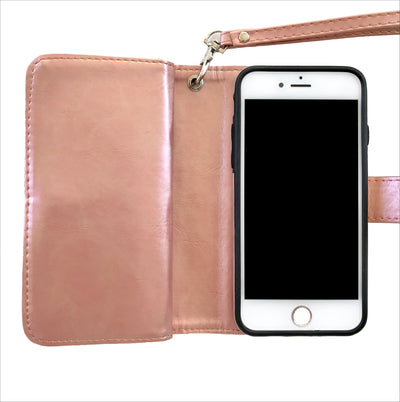 Rose Gold & White Stripe Wallet Case
