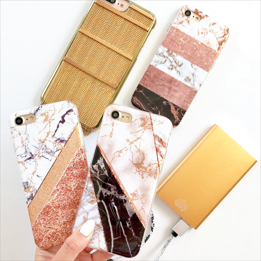 White & Rose Gold Duo Marble Phone Case
