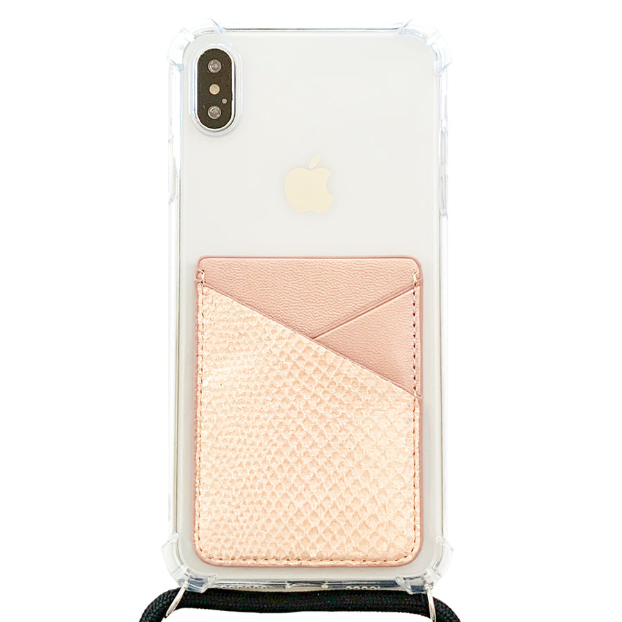 Card Pocket in Rose Gold Snakeskin
