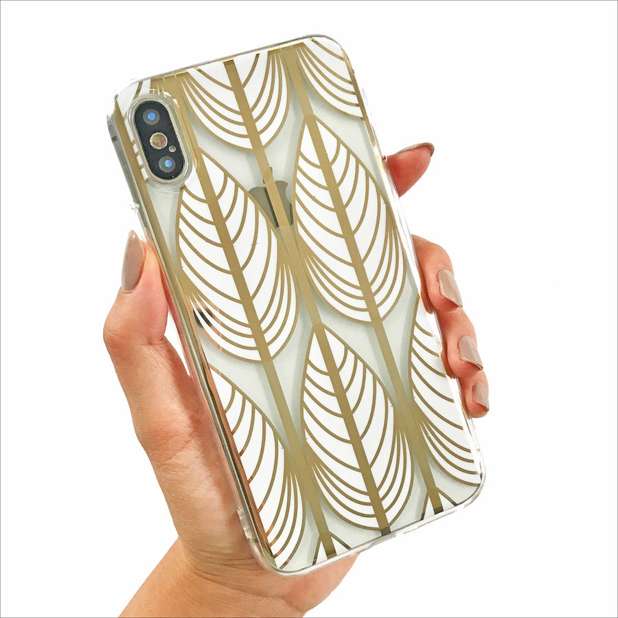 Simple Golden Leaves Clear Phone Case