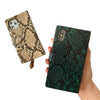 Snake Print Zip Wallet Case in Green