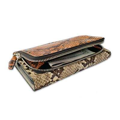 Snake Print Zip Wallet Case in Sand