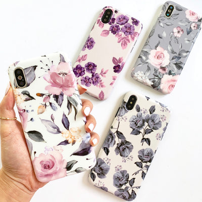 Grey Pastel Blooms Phone Case
