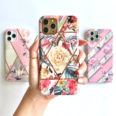 Exotic Blooms Metallic Geo Phone Case