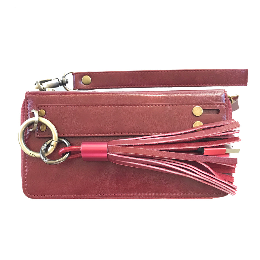 Wine Tassel Keychain Charging Cable