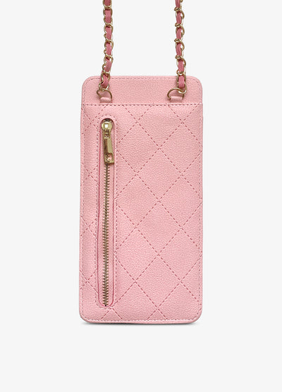 Universal Quilted Crossbody Wallet Case in Blush Pink