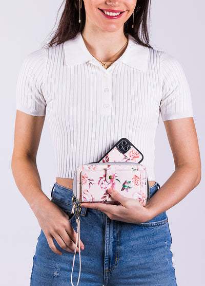 Ultimate Wristlet Phone Case in Blush Floral