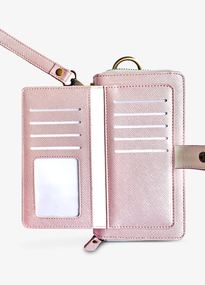 The Luxe Ultimate Wristlet Phone Case in Pearl Pink