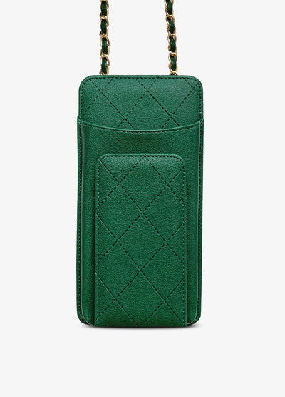Universal Quilted Crossbody Wallet Case in Green