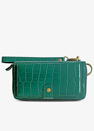 Ultimate Wristlet Phone Case in Green Croc Print