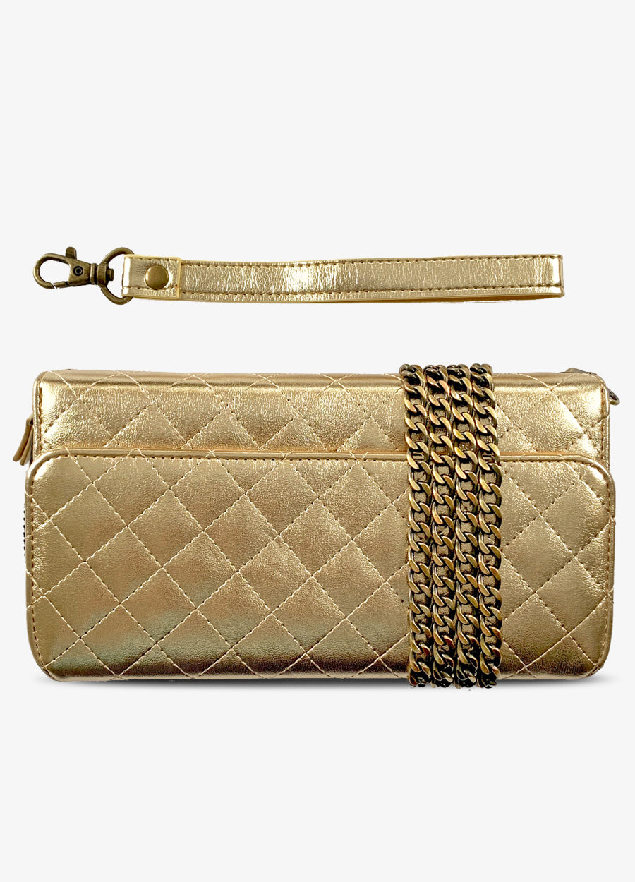 RFID Crossbody Wallet Phone Case in Quilted Gold