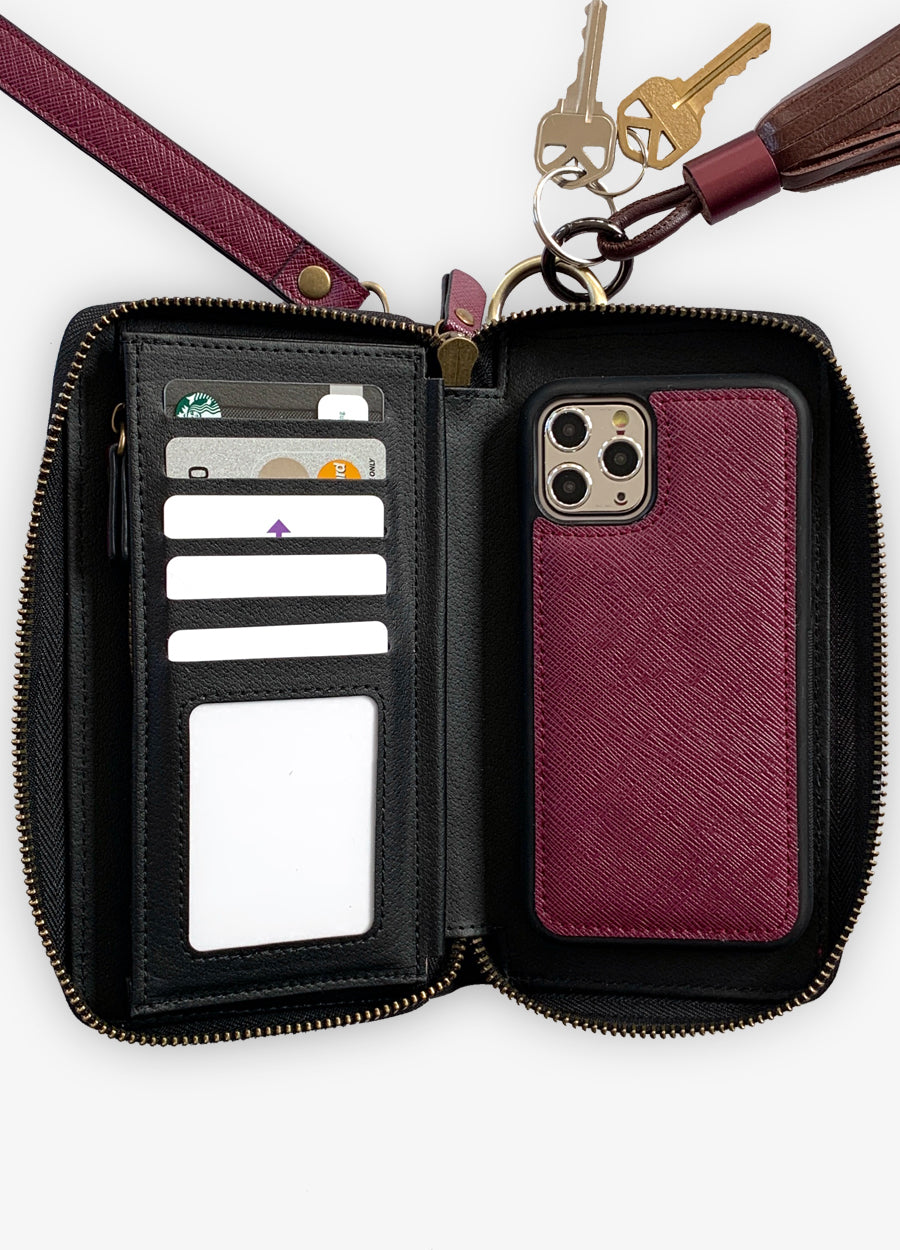 The Luxe Ultimate Wristlet Phone Case in Berry