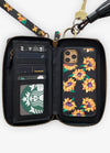 Ultimate Wristlet Phone Case in Black Sunflower