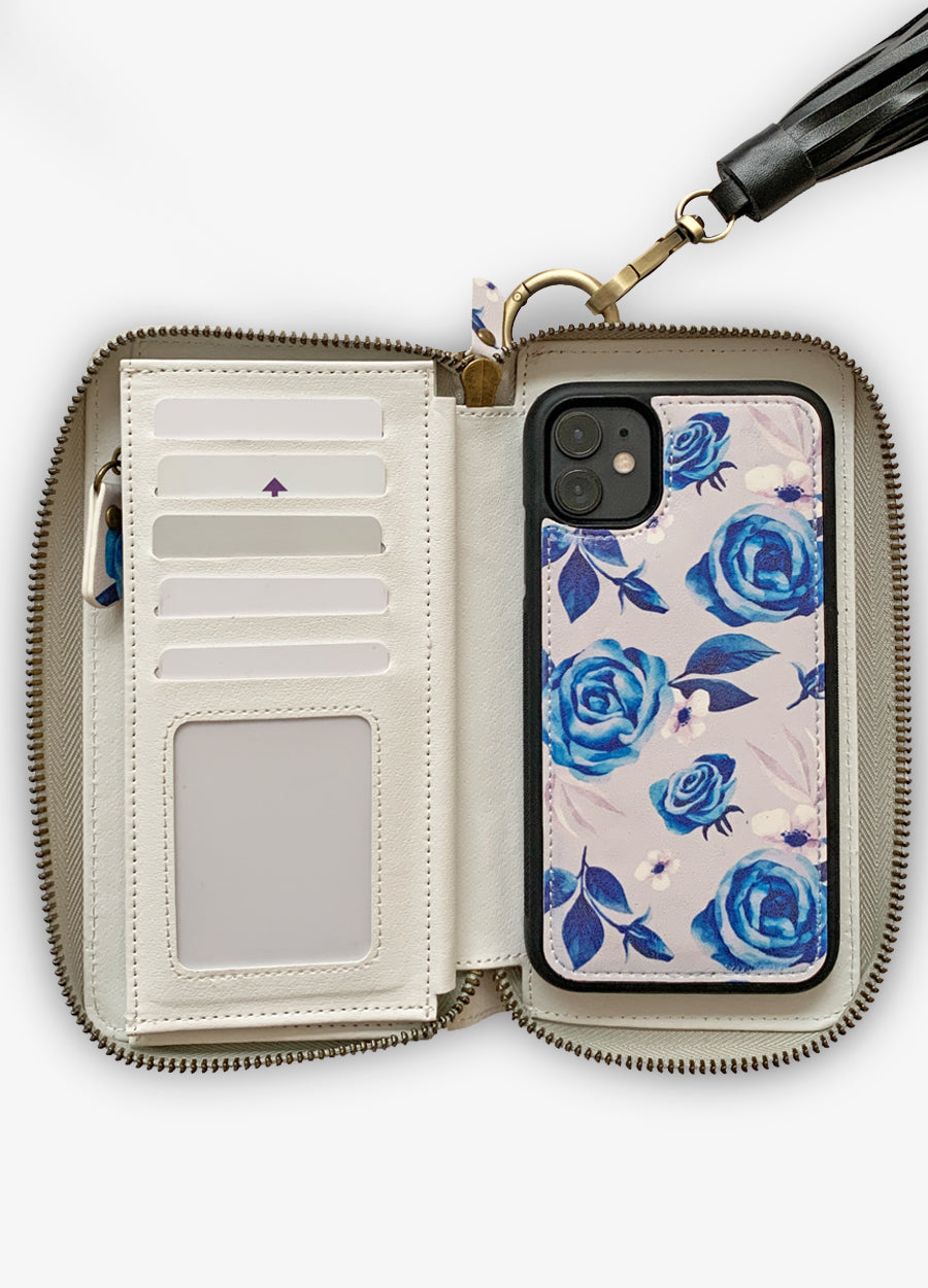 Ultimate Wristlet Phone Case in Blue Dream Rose