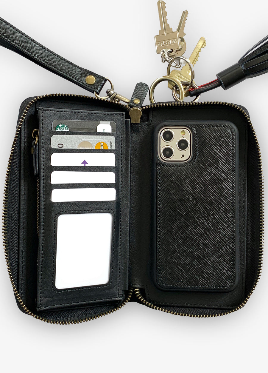 The Luxe Ultimate Wristlet Phone Case in Black
