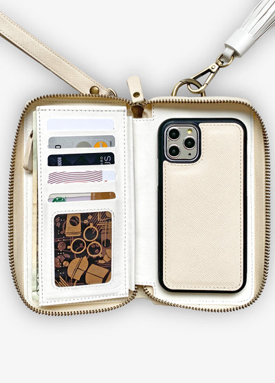 The Luxe Ultimate Wristlet Phone Case in Bone