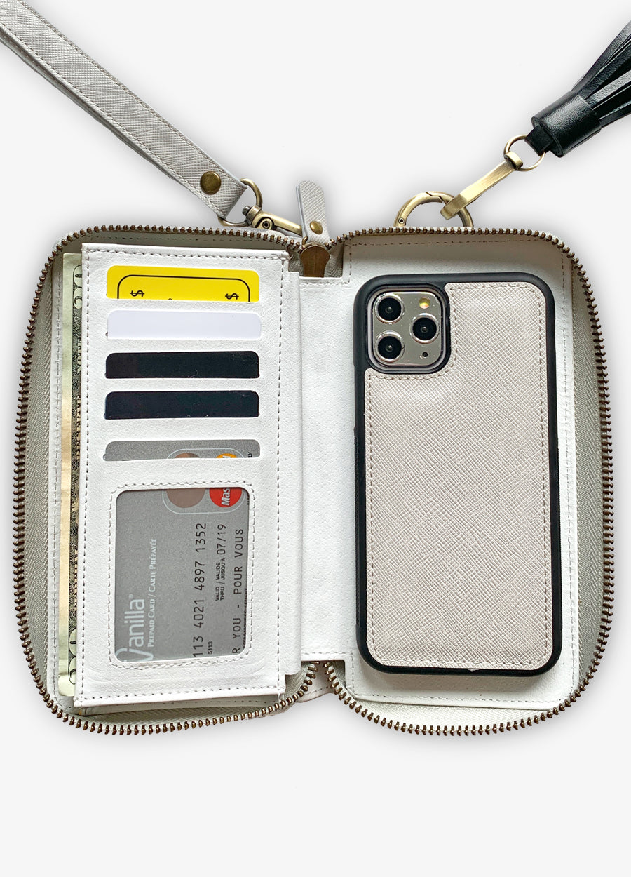 The Luxe Ultimate Wristlet Phone Case in Slate Gray
