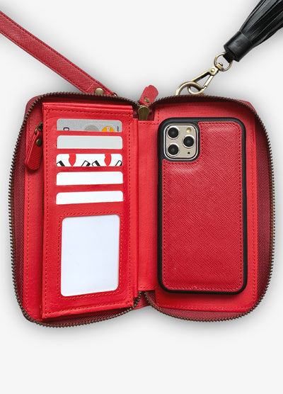The Luxe Ultimate Wristlet Phone Case in Fire Red